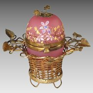 Antique French Pink Opaline Egg Casket in Ormolu Basket