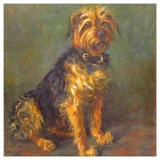 Antique YorkshireTerrier Dog Oil Portrait