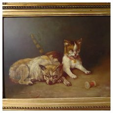 Antique Dog Cat Painting Camille Benoit French