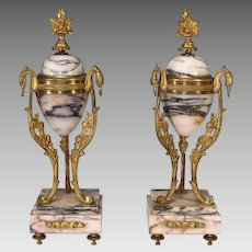 Pair French Marble Ormolu Garniture