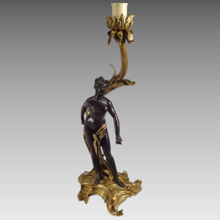 French Art Nouveau Lamp Nude Sculpture Dore And Patinated Bronze