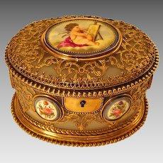 Antique French White Opaline Casket Box Handpainted Porcelain Plaques