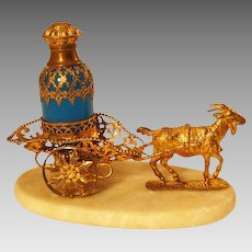 Antique French Palais Royal Opaline Goat Cart Perfume