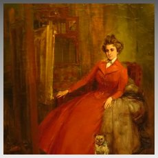 Impressionist Painting Woman with Pug by Lievin Herremans Dated 1900