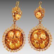 Antique Victorian Gold Pearl Dangle Earrings Calla Lily