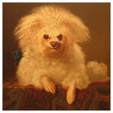 Antique Dog Portrait Poodle Oil on Board