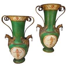 Pair Antique Toleware Vases Urns Bronze Mounts Classically Painted