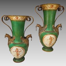 Pair Antique Toleware Vases Urns Bronze Mounts Classically Painted