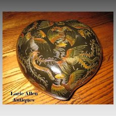Large Japanese Lacquer Ware Heart Shape Box with Cranes