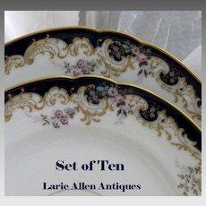 Exquisite 10 pc. Set Antique French Porcelain Cobalt Floral Raised Gold Dinner Plates