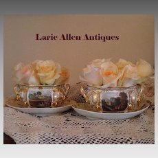 Pair Derby Porcelain Handpainted Topographical Sauciers with Under-plates