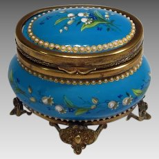 Antique French Blue Enamel Jeweled Casket Box