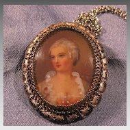Continental Silver Filigree Portrait Necklace Brooch