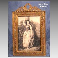 Art Nouveau French Bronze Champleve Enamel Picture Frame