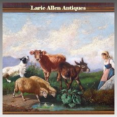 19th Century Italian Oil Painting Antonio Milone Animals and Maiden
