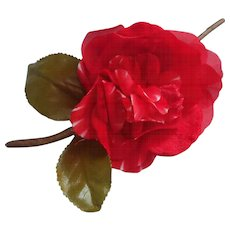 Vintage Millinery Flower Red Velvet Silk Camellia Rose