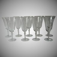 Vintage Wine Glasses Small 1930s to 1950s Cut Decoration