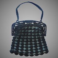 Vintage Purse Crocheted Black Blue Gray Plstic Frame Molded Flowers