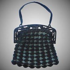 Vintage Purse Crocheted Black Blue Gray Plstic Frame Molded Flowers