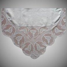 Antique Tablecloth Calla Lilies Filet Crocheted Lace Linen Square