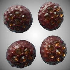 1960s Buttons Vintage Brown Plastic Amber Yellow Colored Rhinestones Chunky