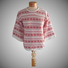 1970s Sweater Vintage Novelty Red Cream Knit Drawstring Beads Hem
