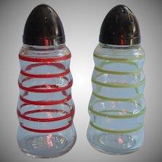 Vintage Shakers Striped Stripes Red Green Black Plastic Tops Salt Pepper