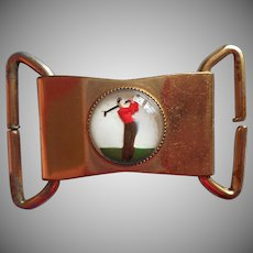 1930s Buckle Golfer Reverse Painted Essex Glass Golf Vintage