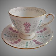 Turquoise Pink Bone China Cup Saucer Tuscan English Vintage