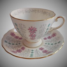 Turquoise Pink Bone China Cup Saucer Tuscan English Vintage