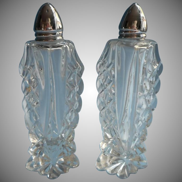Cut And Pressed Crystal Salt Pepper Shakers Vintage Tall Mercy