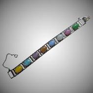 Sarah Coventry Bracelet Vintage Pastel Art Glass Cabochon Stones