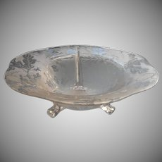 Fostoria Oak Leaf Brocade Console Bowl Vintage Etched Glass Acorns