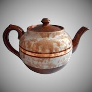 English Teapot Brown Mottled Glaze Blue Splatter Bands Vintage