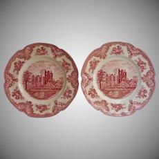 Pink Old Britain Castles Johnson Brothers England 2 Dinner Plates Vintage