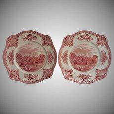 Pink Old Britain Castles Johnson Brothers England 2 Square Salad Plates Vintage Dessert