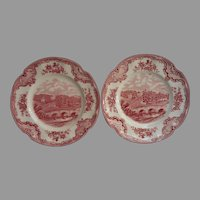 Pink Old Britain Castles Johnson Brothers England 2 Bread Plates Vintage