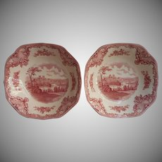 Pink Old Britain Castles Johnson Brothers England 2 Cereal Bowls Vintage