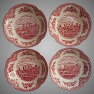 Pink Old Britain Castles Johnson Brothers England 4 Fruit Bowls Vintage