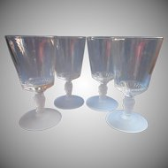 Three Face EAPG Set 4 Goblets Antique Pressed Glass