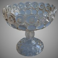 Antique Glass Compote Pressed EAPG Jeweled Moon And Stars