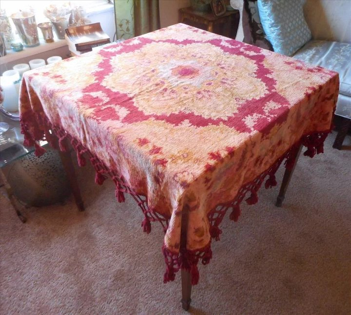 Antique Victorian Chenille Parlor Tablecloth Reversible Floral Tassels