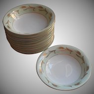 Noritake Alice 12 Soup Plates Bowls Vintage China Gold Pale Green White