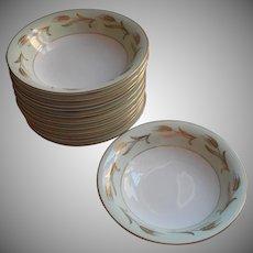 Noritake Alice 12 Soup Plates Bowls Vintage China Gold Pale Green White