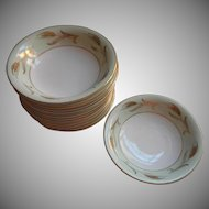 Noritake Alice 12 Fruit Sauce Bowls Vintage China Gold Pale Green White