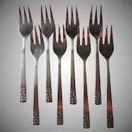 Carlyle Cameo Vintage Stainless Steel Flatware 8 Salad Forks Dessert