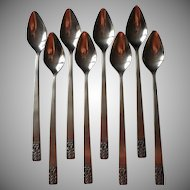 Carlyle Cameo Vintage Stainless Steel Flatware 8 Iced Tea Spoons