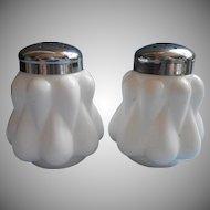 Fenton Bulging Teardrop Glass Shakers White Vintage