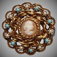 Goldette Shell Cameo Vintage Pin Brooch Victoria Revival Style