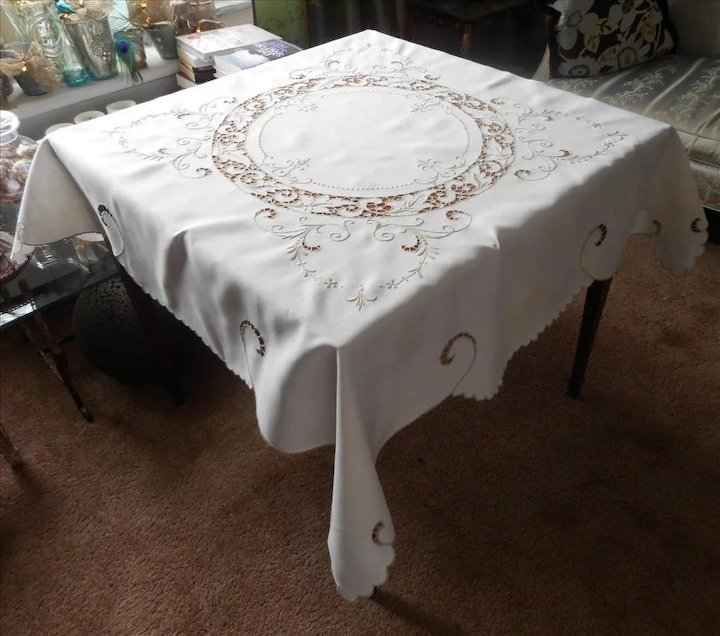 Kitchen & Table Linens Madeira Color Embroidered And Cutwork Set Of Five 16 Inch Square Linen Napkins Antiques
